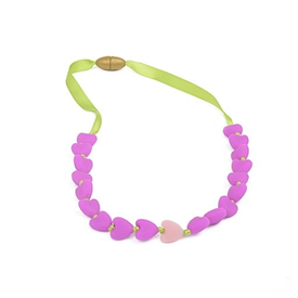 Chewbeads Chewbeads Spring Heart Glow-in-the-dark Jr Necklace Fushia