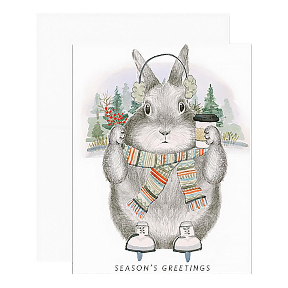 Dear Hancock Card - Ice Skating Bunny
