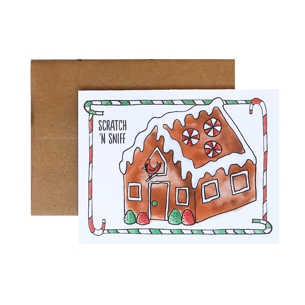 Three Little Words Paper Scratch 'n Sniff Gingerbread House Card