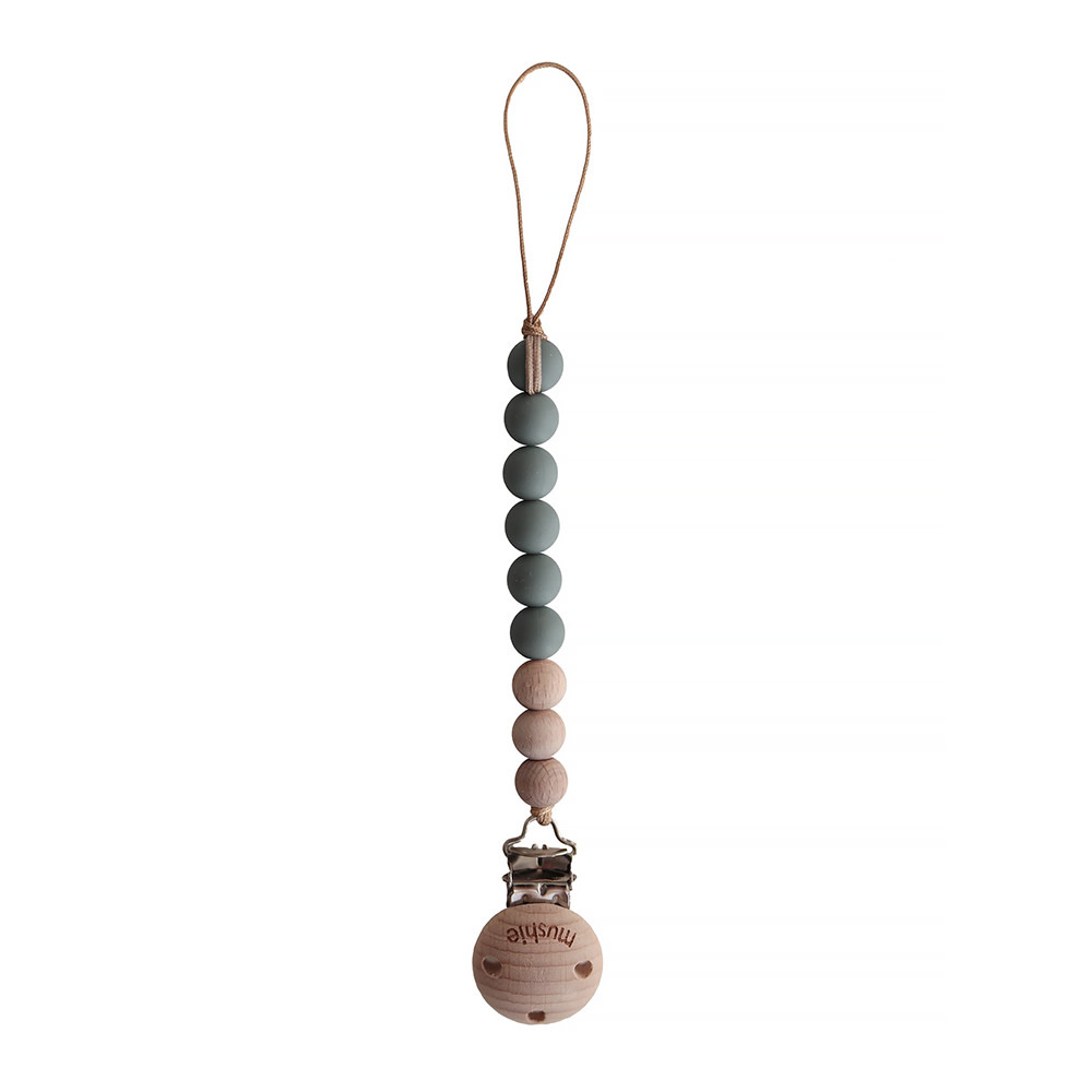 Mushie Pacifier Clip Cleo - Dried Thyme