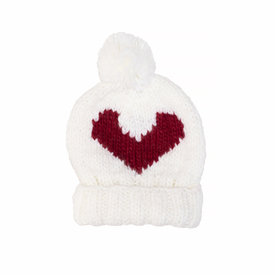 The Blueberry Hill The Blueberry Hill Adult Heart Beanie White/Red L