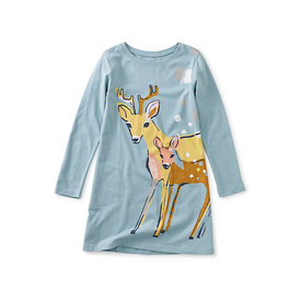 Tea Collection Tea Collection Darling Deer Storytime Dress - Smokey Blue