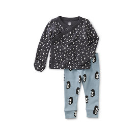 Tea Collection Tea Collection Wrap Top Baby Outfit - Starry Night in Pepper