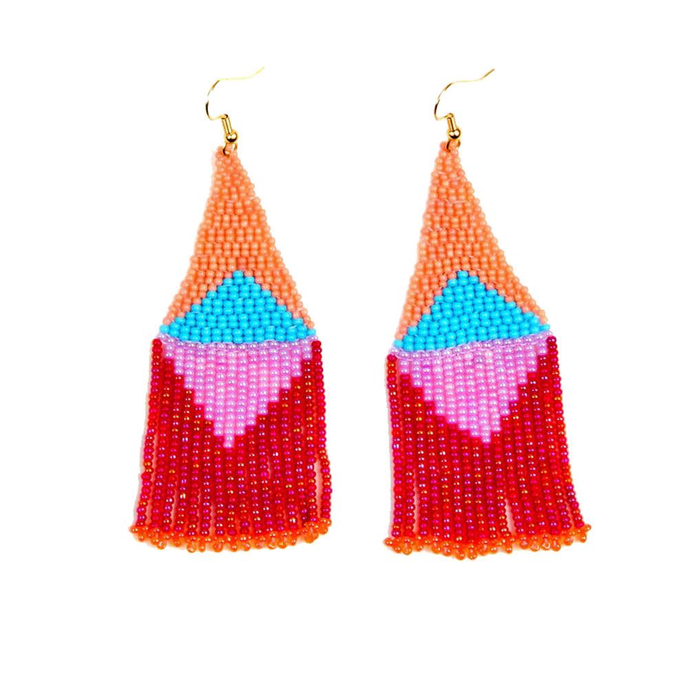 Altiplano Beaded Graphic Fringe Earrings - Fiesta