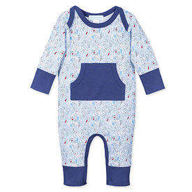 Feather Baby Feather Baby Organic Kangaroo Romper - Crowded Fish on Baby Blue