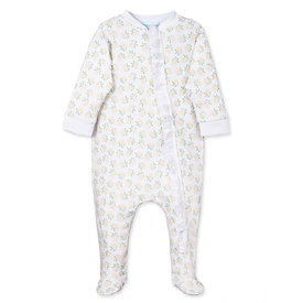 Feather Baby Feather Baby Zipper Footie with Ruffle - Dora Yellow on White