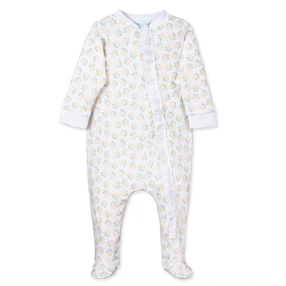 Feather Baby Zipper Footie with Ruffle - Dora Yellow on White