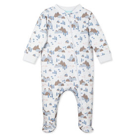 Feather Baby Feather Baby Zipper Footie Wild Piglets on White