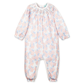 Feather Baby Feather Baby Hand-Smocked Romper Fiona on White