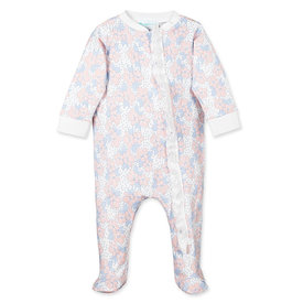 Feather Baby Feather Baby Zipper Footie with Ruffle Fiona on White
