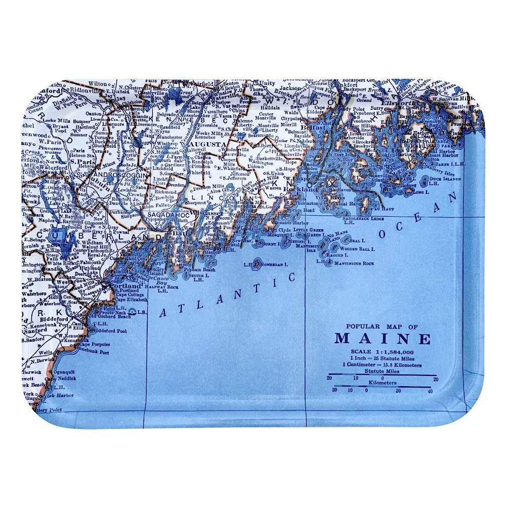Vintage Maine Map Tray - Large