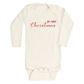 Tenth & Pine Tenth & Pine Long Sleeve Bodysuit - My First Christmas - Red