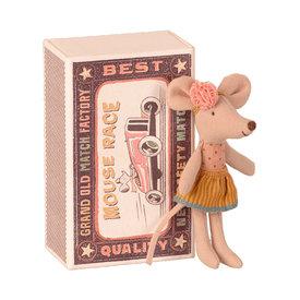 Maileg Maileg Mouse - Little Sister in Matchbox - Pink Polka Dot & Orange Skirt