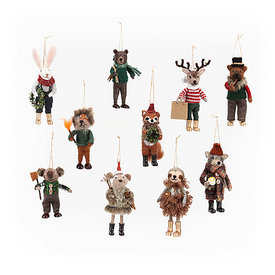 One Hundred 80 Degrees Woodland Animal Wool Ornament - Assorted