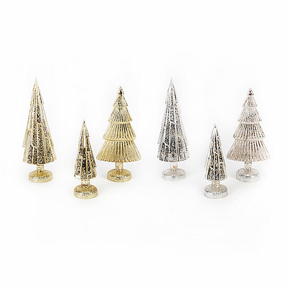 One Hundred 80 Degrees Glass Metallic Trees Set of 3