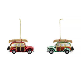 One Hundred 80 Degrees Woody Station Wagon With Canoe Ornament - Assorted
