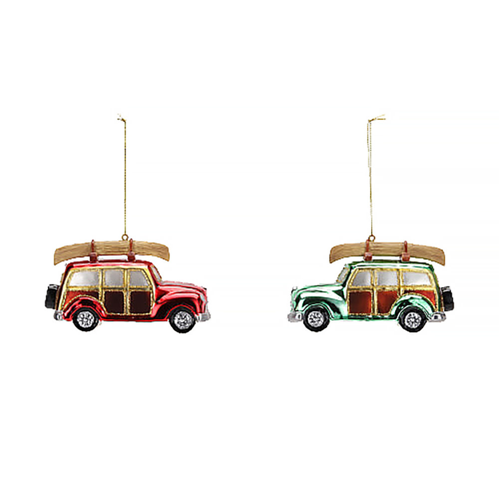 Woody Station Wagon With Canoe Ornament - Assorted