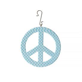 "Machete Machete - 3"" Peace Ornament - Blue Checker"