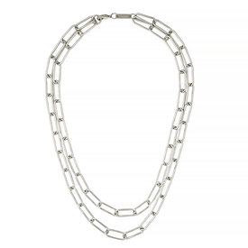 """Machete Machete - Paperclip Chain Layered Necklace - Silver 16"""" & 18"""""""