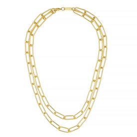 "Machete Machete - Paperclip Chain Layered Necklace - Gold 16"" & 18"""