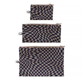 Baggu Baggu Flat Pouch Set - Indigo Trippy Checker
