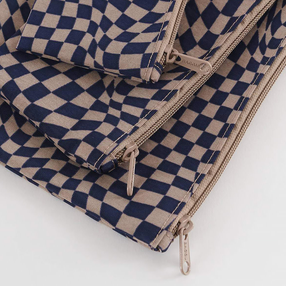 Baggu Flat Pouch Set - Indigo Trippy Checker