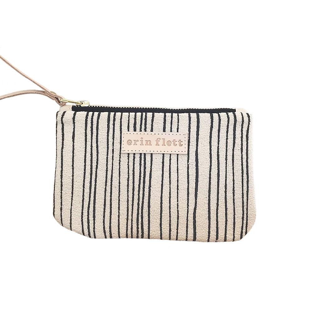 Erin Flett Erin Flett Wristlet Zipper Pouch - Worn Black Skinny Stripe - Natural Zip