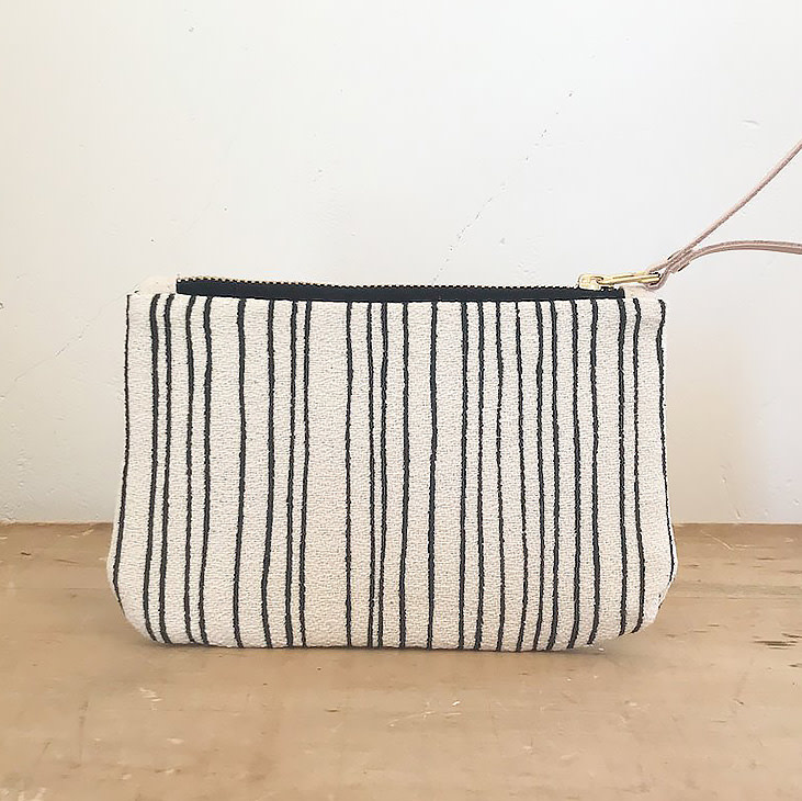Erin Flett Wristlet Zipper Pouch - Worn Black Skinny Stripe - Natural Zip