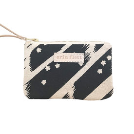 Erin Flett Erin Flett Wristlet Zipper Pouch - Worn Black Flying Carpet - Natural Zip