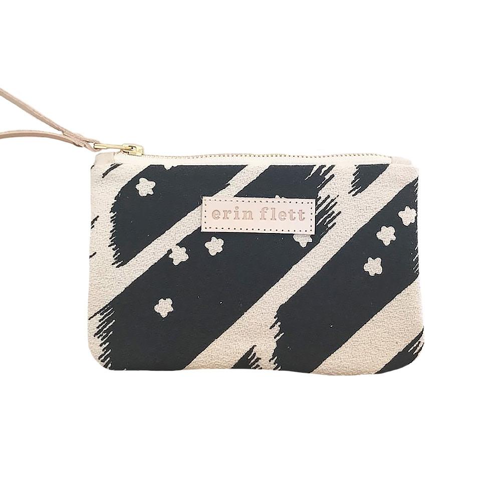 Erin Flett Wristlet Zipper Pouch - Worn Black Flying Carpet - Natural Zip