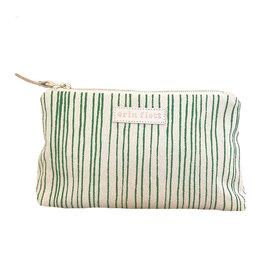 Erin Flett Erin Flett Cloth Makeup Zipper Pouch - Kelly Skinny Stripe - Natural Zip