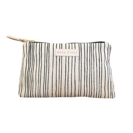 Erin Flett Erin Flett Cloth Makeup Zipper Pouch - Worn Black Skinny Stripe - Natural Zip