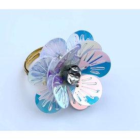 Gunner & Lux Gunner & Lux Adjustable Ring - Flower Power Snow Diamond