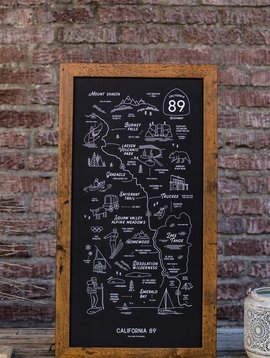 California 89 CA89 Framed Road Map