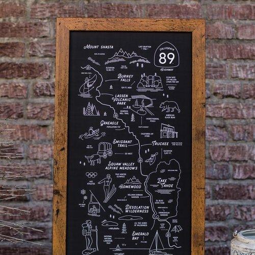 California 89 CA89 Framed Road Map