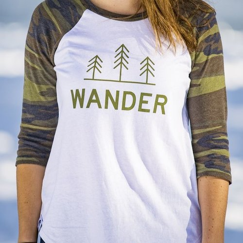 California 89 Wander Women's Camo Baseball Tee