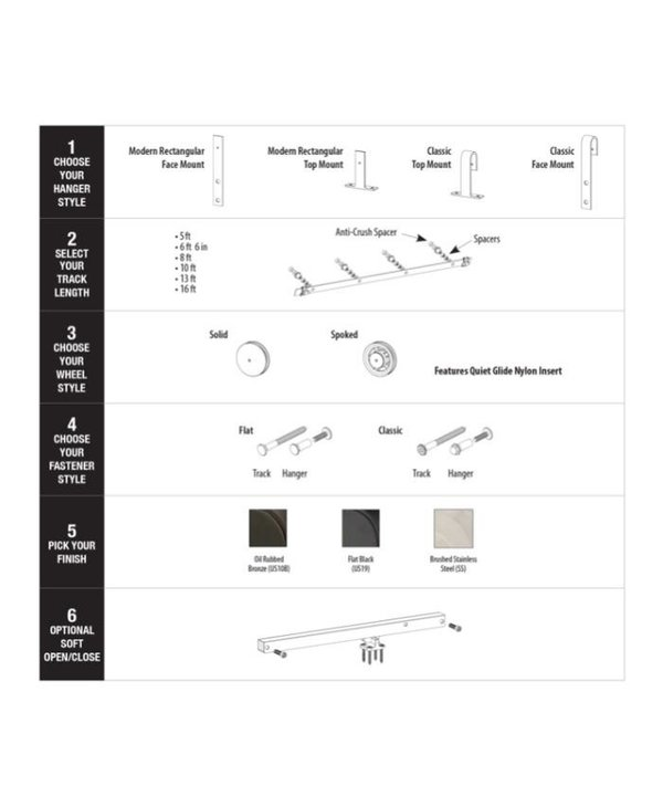 Modern Rectangular Top Mount Hanger - Flat Black
