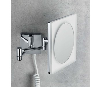 Wall Magnifying Square Mirror Complete With LED Built-In Light