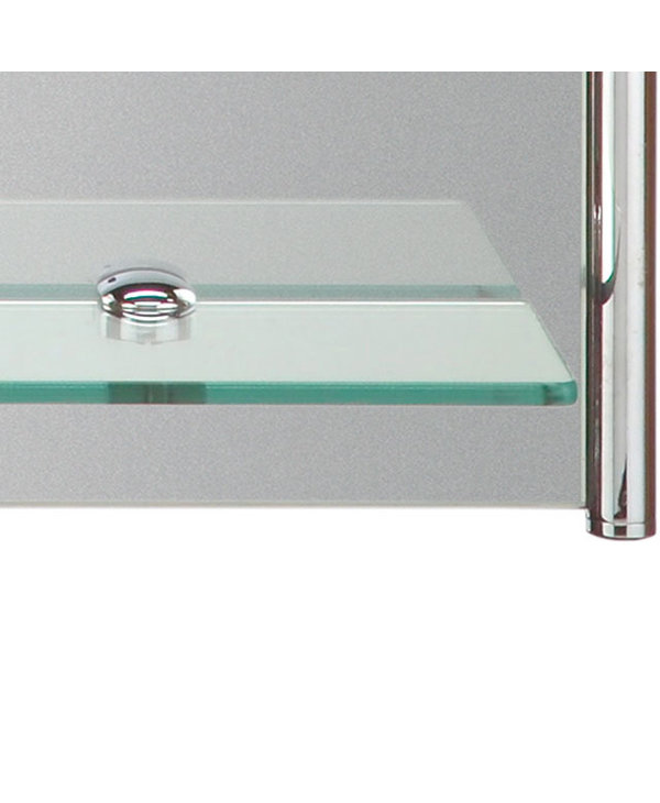 Mirror with Tubular Chrome Accents and Shelf M26001A