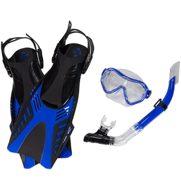 Leader Leader Tropic Traveler Mask Snorkel Fin Super Kit