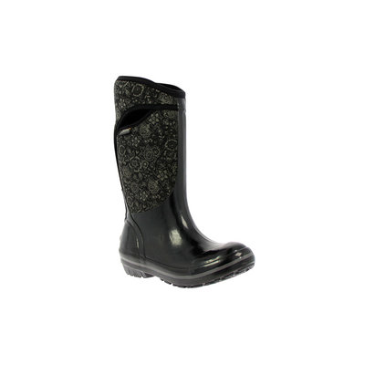 Bogs Bogs Plimsoll Quilted Floral High Boot Womens Size 6 Black/Grey
