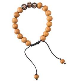 Sherpa Sherpa Mala Wood Beads Bracelet, 3 Stone
