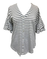 Umgee Stripe V-Neck Faux Button Up Top