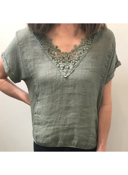 Suzy D Embroidered Trim Tee
