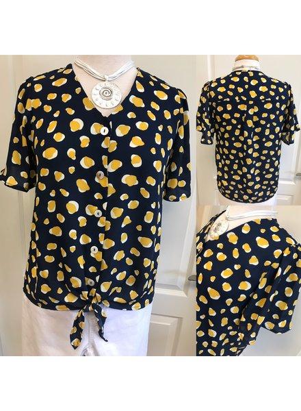 Hailey Button Front Tie Waist Top
