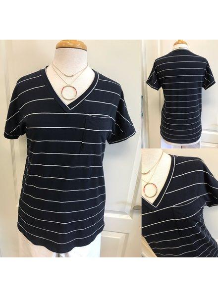 Hailey  Pin Stripe Top w/ Pocket