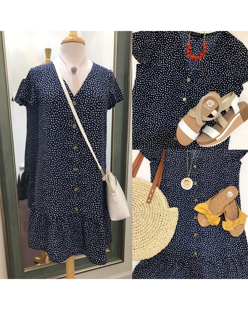 Hers & Mine Hers&Mine Button Front Ruffle Hem Dress