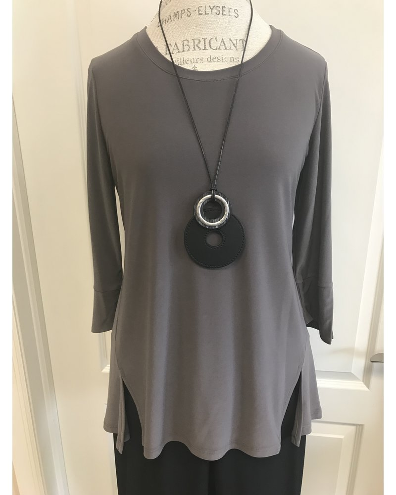 By JJ 3/4 Slit Sleeve Round Neck Tunic