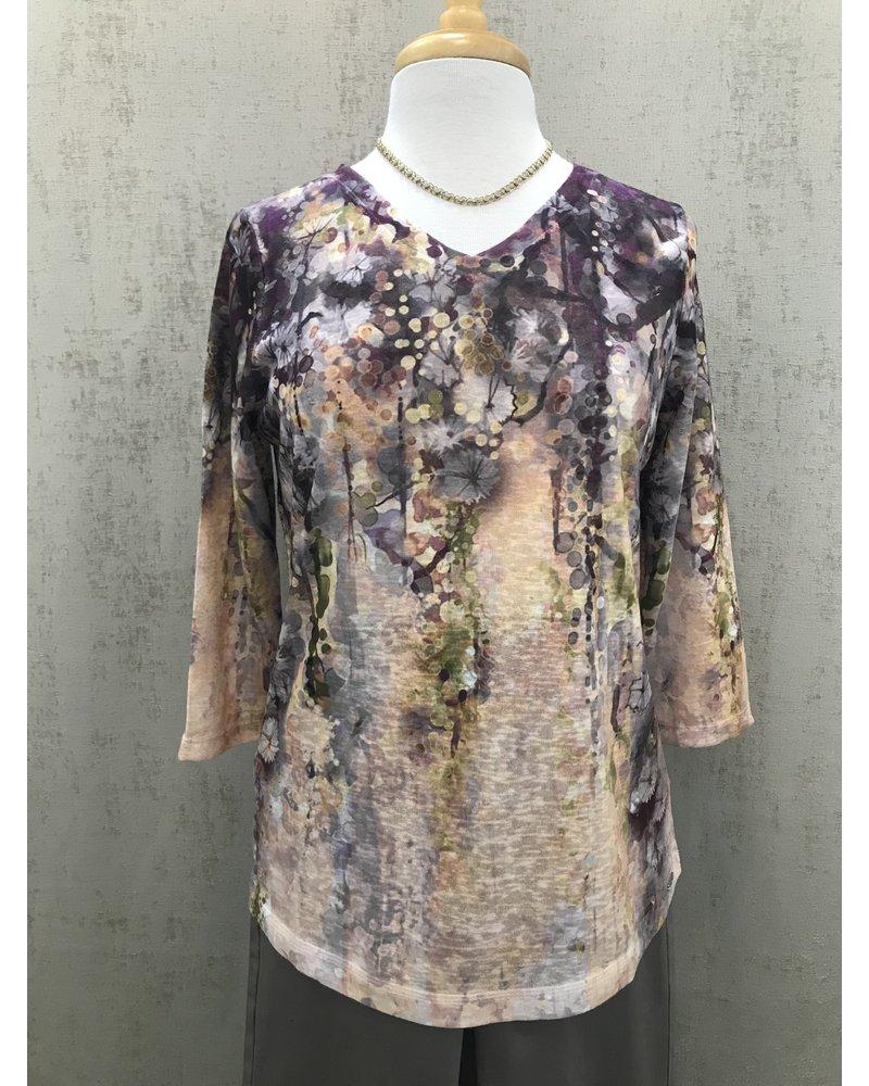 FDJ Cascading Floral Print Top