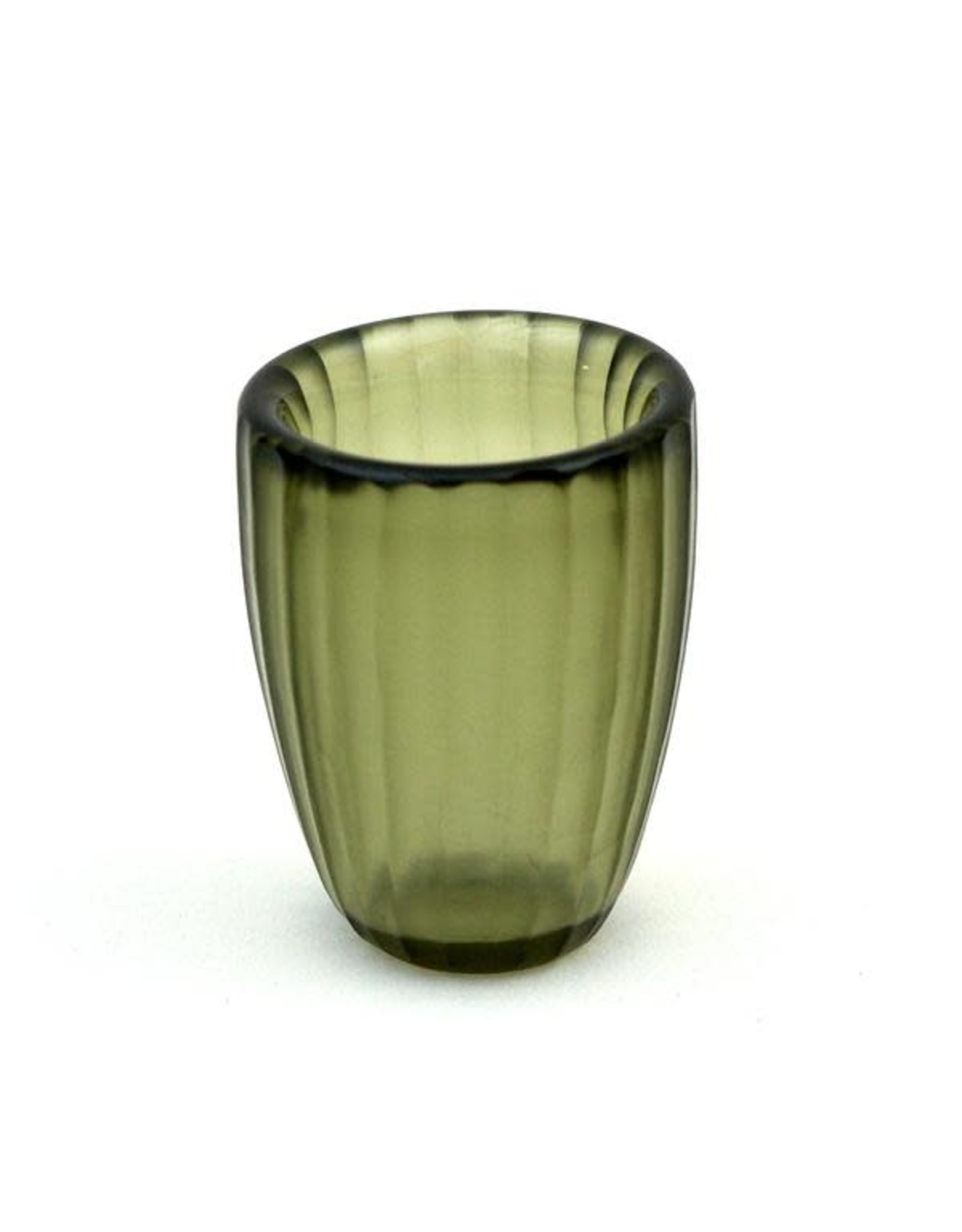 Brisonhome Brian Tunks Cut Glass Beaker, Small Olive